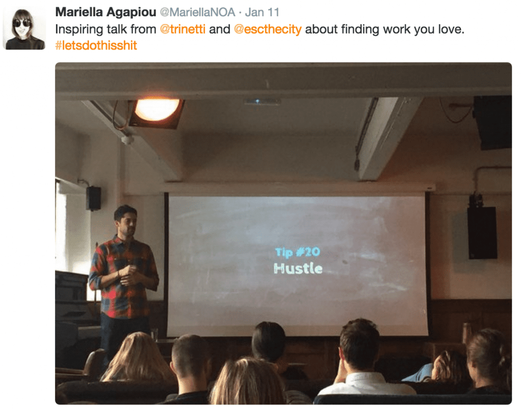 Giving a talk at Shoreditch House in London. Tweet and photo by @MariellaNOA.